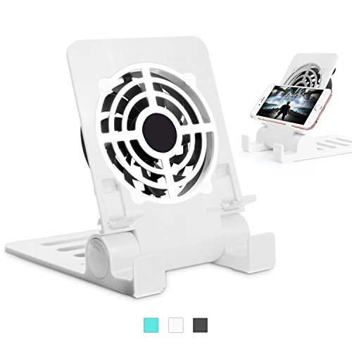 Zuoao 2 in 1 Foldable Cell Phone Stand Holder with usb Cooling Cooler Fan for iPhone, Samsung Galaxy, HuaWei, Ipad, Tablet and any Mobilephone (White)