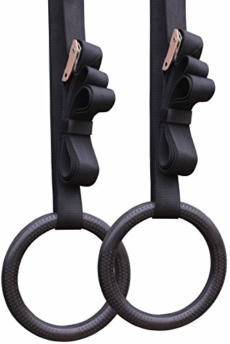 Gymnastic Rings w/ Straps Buckle Gym Crossfit Strength Pull Up Dips Fitness Gym
