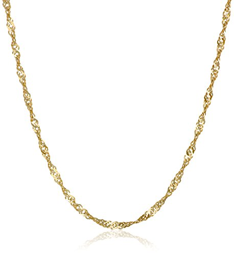 10k Yellow Gold Solid Singapore-Chain Necklace (1.35 mm)