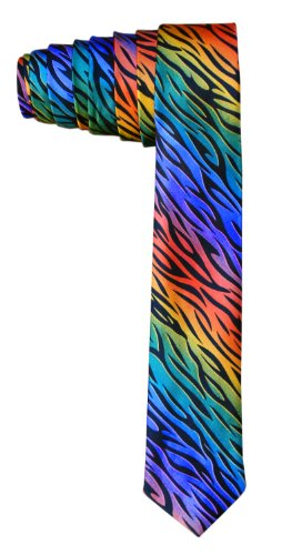 Unique and Funky Skinny Necktie Ties - (Varieties of Colors and Prints) (Zebra - Rainbow)