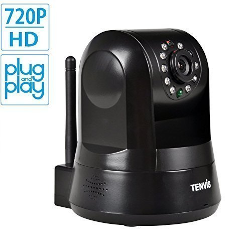 TENVIS TZ100 HD Wireless IP/Network Security Camera, Remote Live View, Capture Picture and Video Clip, Pan & Tilt, Plug&Play, with Two-Way Audio and Night Vision, Motion Detection with Alert (Black)