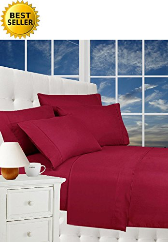 #1 Rated Best Seller Luxury Pillowcases on Amazon! Celine Linen® 1800 Thread Count Egyptian Quality Wrinkle Free 2-Piece Pillowcases 100% HypoAllergenic, King Size - Burgundy