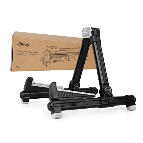 Mugig Universal Flexible A-Frame Music Instrument floor Holder for Acoustic/Electric/Classical Guitar,Bass,Banjo - Portable Folding Stand for Travel (Black)