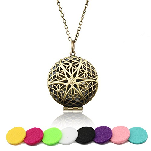 HOTOR Antique Bronze Durable Essential Oils Diffuser Locket Necklace Pendant With 8 Refilled and Washable Pads