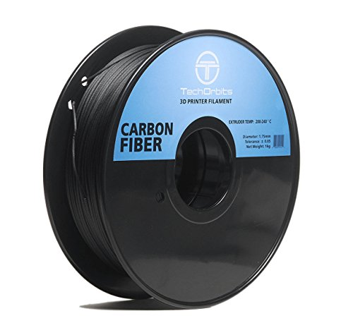 TechOrbits 3D Carbon Fiber-0.8KG1.75-BLK Carbon Fiber 3D Printer Filament, Dimensional Accuracy +/- 0.05 mm, 0.8 kg Spool, 1.75 mm, Black