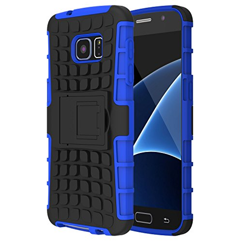 Samsung Galaxy S7 Case,TWOBIU S7 Case Exact TANK Series Shock Proof Tough Rugged Dual Layer Case with Built in Kickstand for Samsung Galaxy S7 [1 Pack] With Lifetime Warraty-Blue