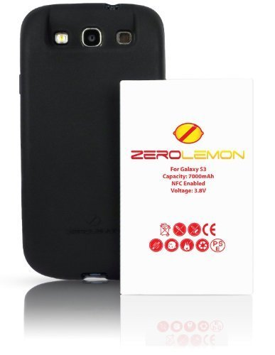 [180 days warranty] ZeroLemon Samsung Galaxy S III 7000mAh Extended Battery + Free Black Extended TPU Full Edge Protection Case / ***NFC for S Beam and Google Wallet***- WORLD'S HIGHEST S3 BATTERY CAPACITY - Black