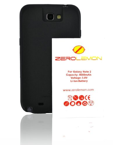 ZeroLemon 9300mAh Extended Battery Bundle with Black Extended TPU Full Edge Protection Case for Samsung Galaxy Note 2 - Black