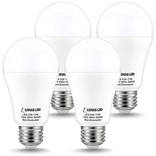 LOHAS LED Lights, A19 Bulb 17Watt LEDs (150 Watt Light Bulbs Equivalent), Daylight LED Light Bulb 5000K, Energy Saving Bulbs, E26 Bulb Medium Base, 180° Beam Angle LED Lights Bulbs for Home(4 Pack)