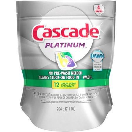 Cascade Platinum Lemon Scent 12 Action Pacs (2 Pack/bags - Total 24)
