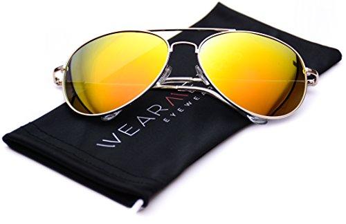 WearMe Pro - Premium Full Mirrored Aviator Sunglasses w/ Flash Mirror Lens Uv400