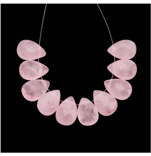 Rose Quartz Gemstone Beads Faceted Briolettes 10mmX16mm (4 Beads)