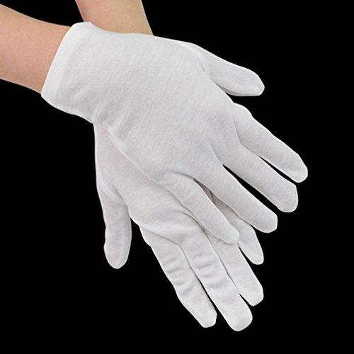 Marrywindix 12 Pairs 7.9'' Soft White Lightweight Cotton Gloves Work Gloves One Size