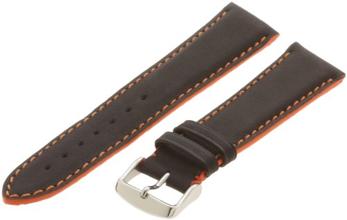 Hadley-Roma Men's MSM893RAG-220 22-mm Orange Colored Stitched Leather WatchStrap