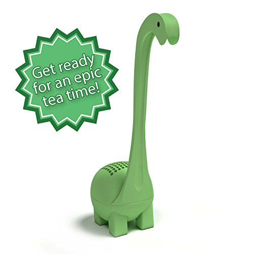 Baby Dino Loose Leaf Tea infuser with Long Handle Neck & Cute Ball Body. Not a Shark, Nessie or t rex it's a deep diver. Your NEW favorite Tea Strainer & Steeper for a Superior Brewing Experience