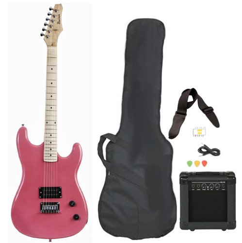 Pink Full Size Electric Guitar with Amp Case Strap Cord Picks Pack Beginner Starter Package