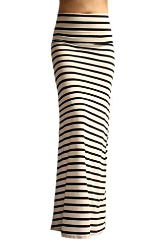 Women's Long Stretch Basic Rayon Span Fold Over High Waisted Striped Maxi skirt
