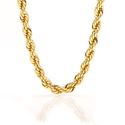 Gold Chain Necklace 24K Plated 7mm Wide White & Yellow Gold USA Made, LIFETIME WARRANTY, 30x Thicker than Any Overlay, Tarnish Resistant, All Sizes, Great for a Pendant, Men & Women Rope chain with Lobster Clasp by Lifetime Jewelry