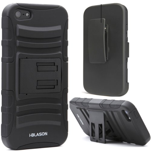 iPhone 5C Case, i-Blason Apple iPhone 5C Prime Series Dual Layer Holster Case with Kick Stand and Locking Belt Swivel Clip for iPHone 5C (Black)