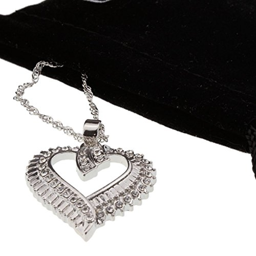 Iced Out Crystal Open Heart Pendant Silver Necklace Girlfriend Woman Teen Girls Jewelry for Mother's Day