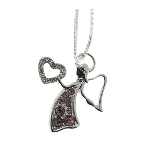 Best Iced Out Pink Crystal Angel Heart Pendant Princess Necklace Buy Now Satisfaction Guaranteed
