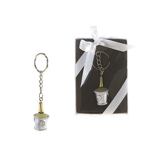 Lunaura Wedding Keepsake - Set of 12 Champagne Bottle in Bucket of Ice Key Chain Favors