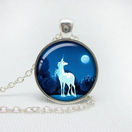 Fashion Jewelry Photo Unicorn Moon Pendant Necklace Silver