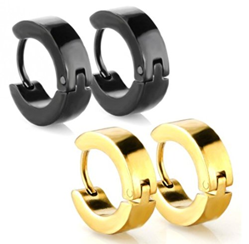 Cat Eye Jewels Stainless Steel Mens Womens Jewelry Set Classic Black Gold Huggie Hinged Hoop Earrings set 2 Pairs