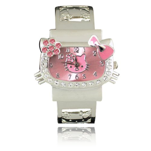 Wrapables Kitty Stainless Steel Bangle Watch (Pink with Pink Flower)