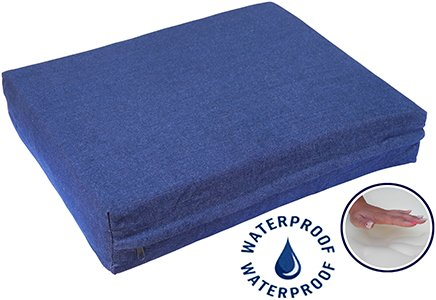 Go Pet Club Solid Memory Foam Orthopedic Pet Bed with Waterproof Cover, 25 by 20 by 4-Inch, Denim
