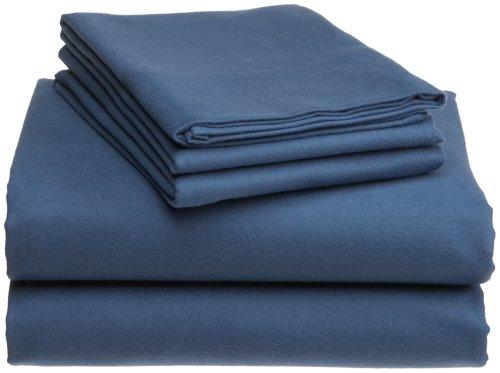 Pinzon Heavyweight Cotton Flannel Sheet Set - King, Smokey Blue