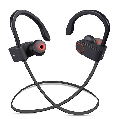 Redlink Wireless Bluetooth V4.1 Headphones Waterproof Noise Isolating In-Ear Earbuds with Microphone and Secure Ear Hooks