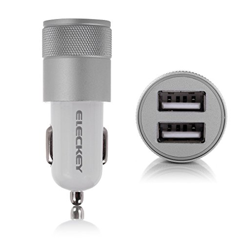 Car Charger, Eleckey 2.1A Dual USB Port Car Charger Portable Travel Charger Rapid Car Charger Auto Adapter for iPhone 6 5s, iPad Air mini, Samsung Galaxy s5, Nexus, HTC One and Other Devices (Silver)