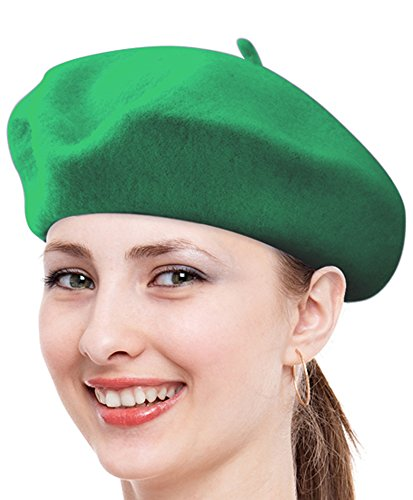 Solid Color French Wool Beret (Green)