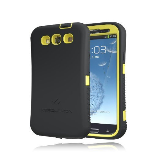 [180 Days Warranty] Zerolemon Lemon Yellow / Viper Black Zero Shock Series for Samsung Galaxy S3 S III I9300 - Covers All Battery Sizes - Worlds Only Universal Form Fitting Case. Rugged Hybrid Case Includes Built in Screen Protector, Belt Clip and Kickstand Usa Patent Pending