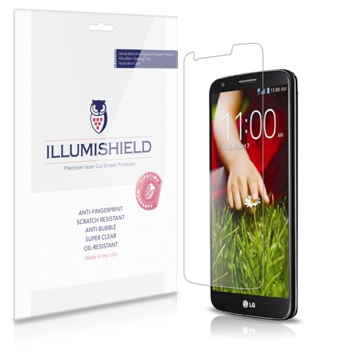 iLLumiShield - LG G2 Screen Protector Japanese Ultra Clear HD Film with Anti-Bubble and Anti-Fingerprint - High Quality (Invisible) LCD Shield - Lifetime Replacement Warranty - [3-Pack] OEM / Retail Packaging