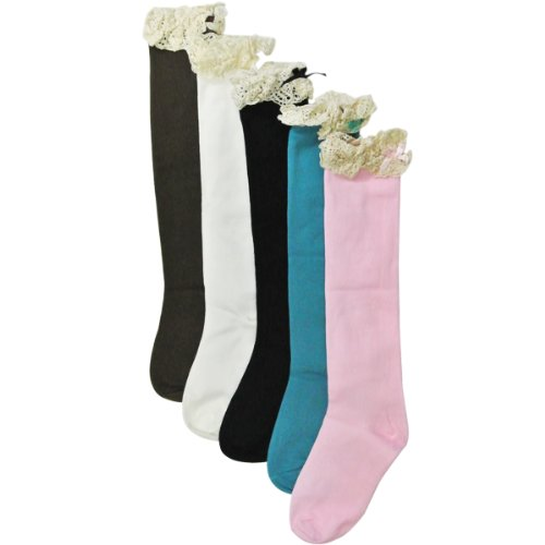 Wrapables Lace Ruffles and Bow Knee High Girl Socks (set of 5)