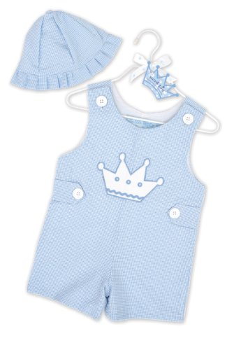 Mud Pie Baby Little Prince Crown Shortalls and Hat Set