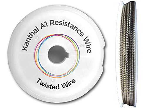 Twisted Kanthal A1 Type Wire - 0.4mm (26 AWG) + 0.5mm x 0.1mm Ribbon Wire - 10 Metre + Spool - 7.23 OHMS/M