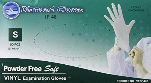 Diamond Gloves Advance Powder-Free Soft Vinyl Examination Gloves, Clear, Small, 100 Count