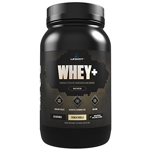 Legion Whey+ Vanilla Protein Powder - Best Tasting Whey Isolate Protein Shake From Grass Fed Cows For Weight Loss, Bodybuilding, & Recovery. All Natural, Low Carb, Lactose Free. 30 Servings!