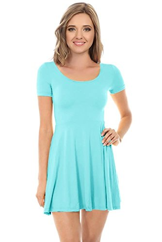 Womens Casual Short Sleeve Cap Sleeve Fit and Flare A Line Skater T Shirt Dress