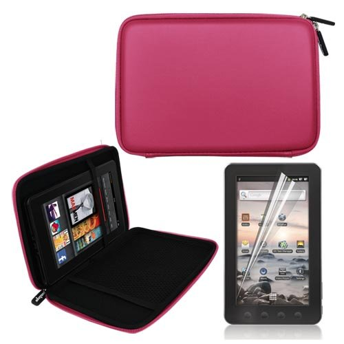 Pink 7 Inch EVA Hard Shell Cover Case + LCD Screen Protector for Coby MID7012 7-Inch Kyros Android Touchscreen Tablet