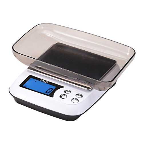 Corlfe Electronic Smart Weigh Digital Kitchen Scale 5KG x 1G with Clear Tray and 2 AA Battery for Home Cooking Food Baking Jewelry