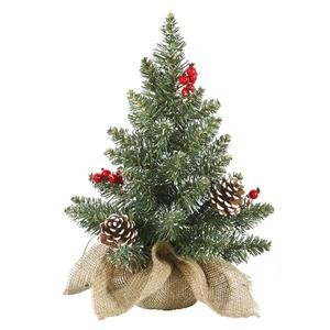 Vickerman 27725 - 1' Frosted Pine with White Tip Cones and Shiny Red Berries Christmas Tree (J122012)