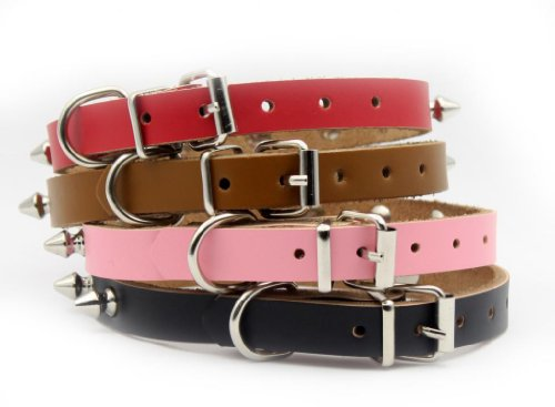 Namsan Puppy Dog Pet Doggie Cats One Row Spiked Leather Collars Necklaces (black,brown,pink,red) &(XS ,Small, Medium, Large)