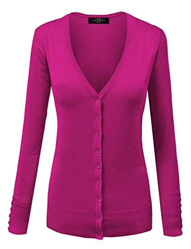 MBJ Womens Long Sleeve Button Down Classic Knit Cardigan Sweater