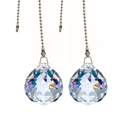 Magnificent Crystal 40mm Clear Crystal Ball Prism 2 pieces Dazzling Crystal Ceiling FAN Pull Chains by CrystalPlace