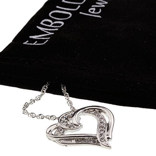 Adorable Silver Iced Out Crystal Double Heart Pendant Love Necklace for Girlfriend Perfect Gift Jewelry
