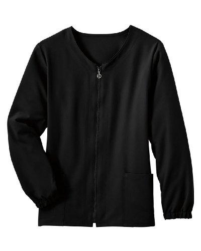 Classic Fit Collection by Jockey Women's Tri Blend Zipper Scrub Jacket Small Black